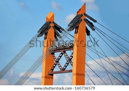 Bridge pylon with steel cable in Odessa, Ukraine