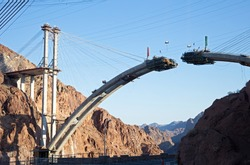 Bridge span under construction.