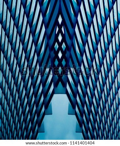 Bridge structure. Technological metal grids. Abstract modern architecture. Metallic background on the subject of technology or industry. #1141401404