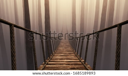 Bridge suspension into the misty forrest . This is a 3d render illustration .  stock photo