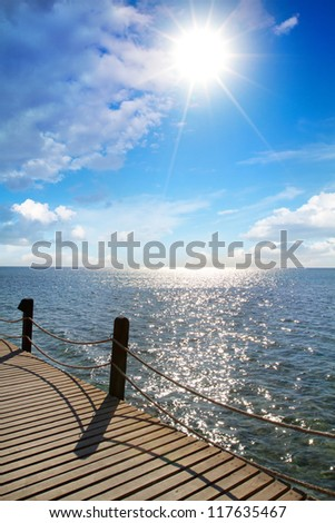 Bridge to the beach - stock photo