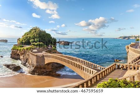 Bridge to the small island near coast in Biarritz, France #467595659