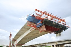 Bridge under construction in over the Chao Phraya River in Bangkok, Thailand, viewed from below.