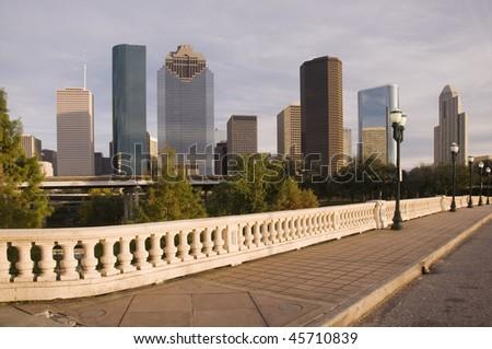 Bridge vantage point view of downtown Houston skyline.