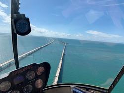 bridge view out of a helicopter 7 mile bridge Florida Keys