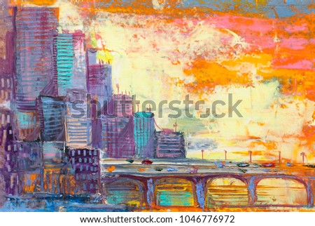 Bridge with cityscape, skyscrapers panorama, oil painting