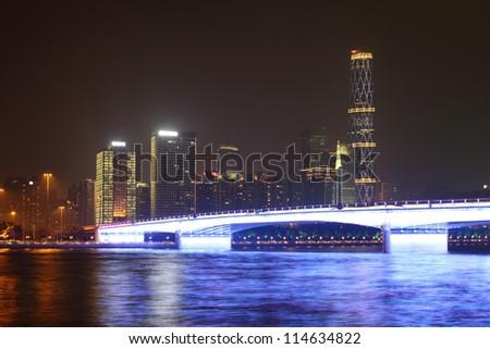 bridge with illumination in Guangzhou, China