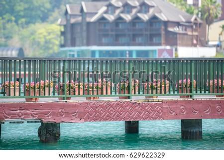 Bridge with pattern carve sun and moon at Sun Moon Lake