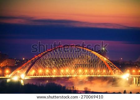 stock photo bridge with red arch on sunset background 270069410 - Каталог — Фотообои «Новосибирск»