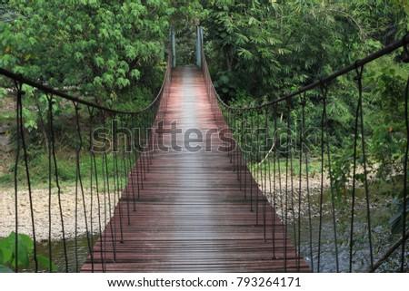 bridge wood bridge suspension bridge #793264171