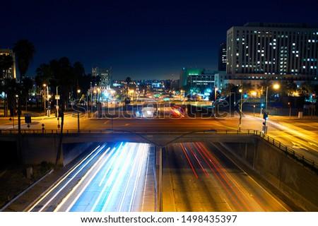 bridges in los angeles long exposure with traffic underneath, 101 freeway #1498435397