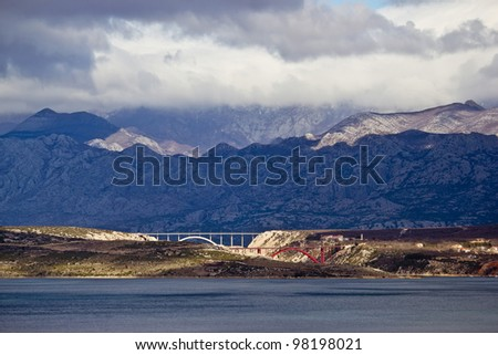 Bridges of Maslenica under Velebit Mountain, Dalmatia, Croatia