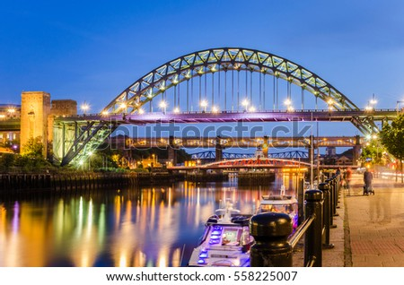 Bridges over the River in Newcastle upon Tyne, UK, at Twilight #558225007