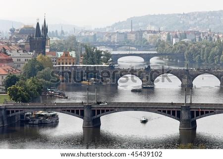 Bridges over the Vltava River in Prague, Czech Republic