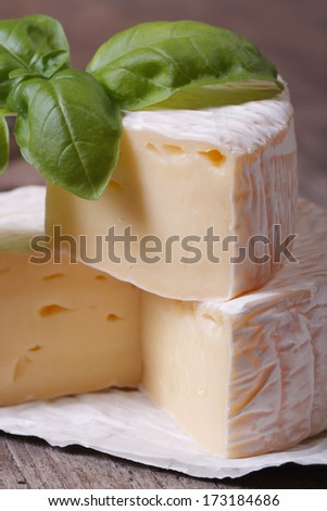 brie cheese on old wooden table with green basil macro. vertical