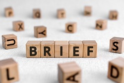 Brief - words from wooden blocks with letters, of short duration instruct or inform brief concept, white background