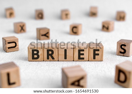 Brief - words from wooden blocks with letters, of short duration instruct or inform brief concept, white background Stockfoto ©