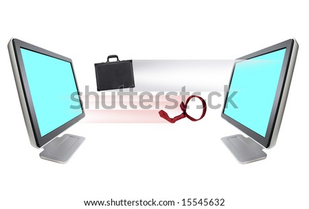 Briefcase and necktie  leaving out of computer monitor-B