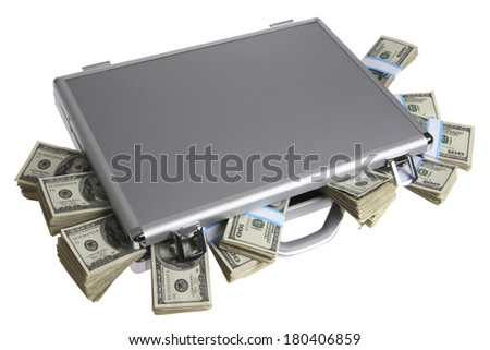Briefcase filled with hundred-dollar bills
