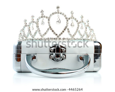 Briefcase with diadem isolated 4 - stock photo