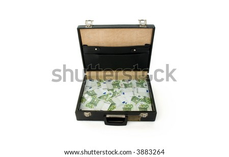 Briefcase with one hundred euros bills isolated on white