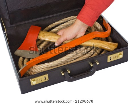 Briefcase with rope, axe and crowbar with a man's hand - isolated