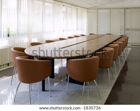 briefing room with wooden table