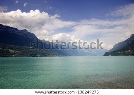 Brienz lake in Switzerland, at Iseltwald