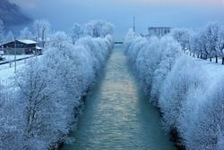 BRIENZ LAKE, SWITZERLAND. Aare river