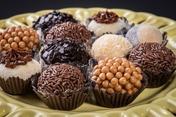 Brigadeiro. Typical Brazilian sweet. Many types of brigadiers together.