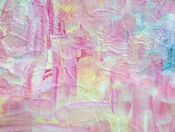 Bright abstract impressionist painting with pink, blue and yellow brushstrokes.