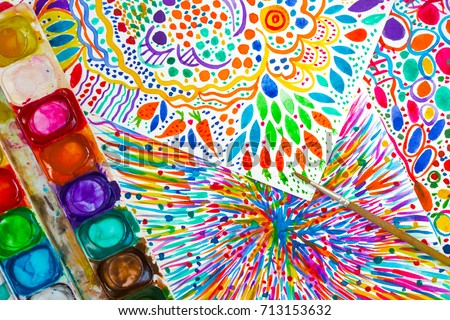 Bright abstract intuitive painting, watercolor, palette and paintbrush. Hand drawn illustration, art school. Hand drawn folk flowers, blots, dots and splashes, carrots and leaves. Watercolour firework #713153632