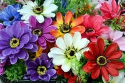 Bright and beautiful colors of plastic flowers.