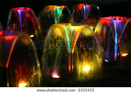 Bright and colorful fountains at night