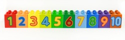 Bright and colorful numbers in order from 1 to 10 shown on the designer. training children in counting.