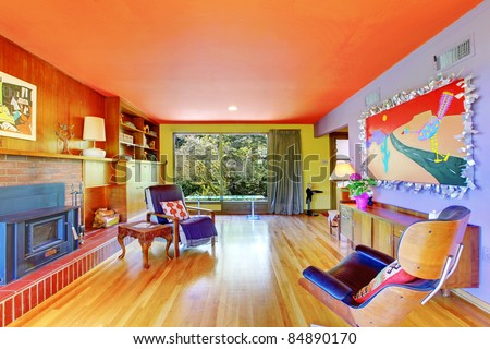 Bright and colorful retro modern living room