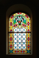 Bright and colorful stained glass window