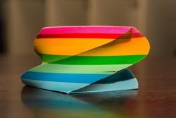 Bright and colorful twirl memo cube, office supply, school desk,
