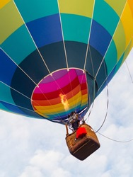 Bright and Colourful Hot Air Balloon Lift Off showing the Basket Burner and Flame