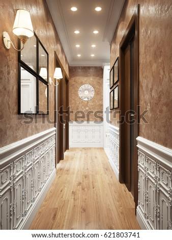 Bright and Cozy Classic Modern Hall Interior Design Beige decorative ...