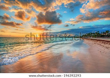 bright and dynamic sea beach...