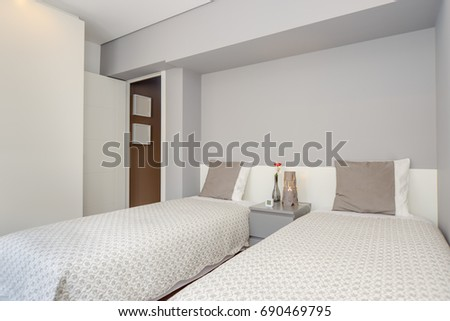 Bright and Fresh Bedroom Suite with double beds #690469795