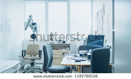 Bright and Modern Medical Doctor's Office, Complete with Personal Computer and ENT, Ophthalmology Equipment.