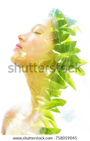 Bright aspects of nature are highlighted along with her peaceful and relaxed expression