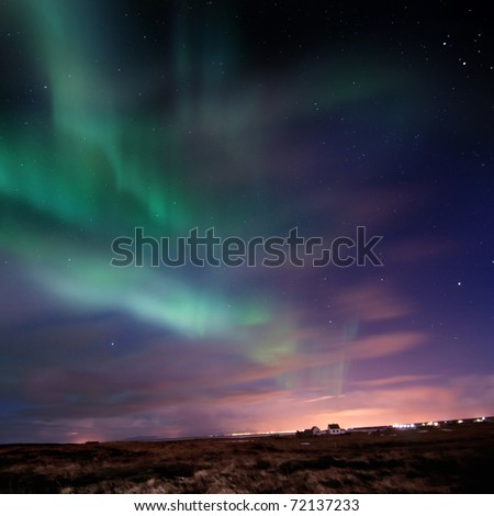 Bright Aurora Borealis (Northern Lights) over southern Iceland, Febuary 2011.  grainy image