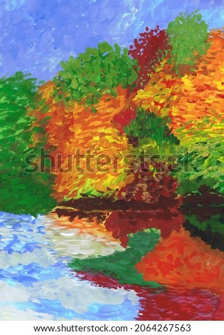 Bright autumn forest on the lake shore. Children drawing