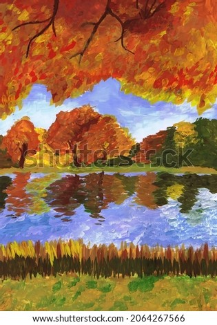Bright autumn trees on the river bank. Children drawing