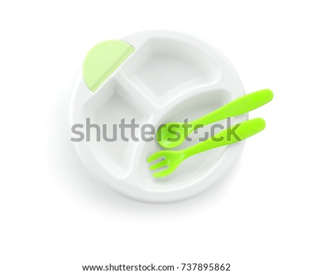 Bright baby tableware on white background #737895862