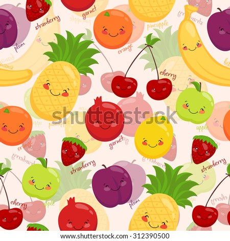 Bright background of fruit, vegetarian food, vitamins. Seamless background of toon.