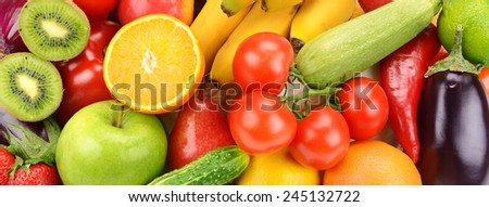 bright background of fruits and vegetables #245132722